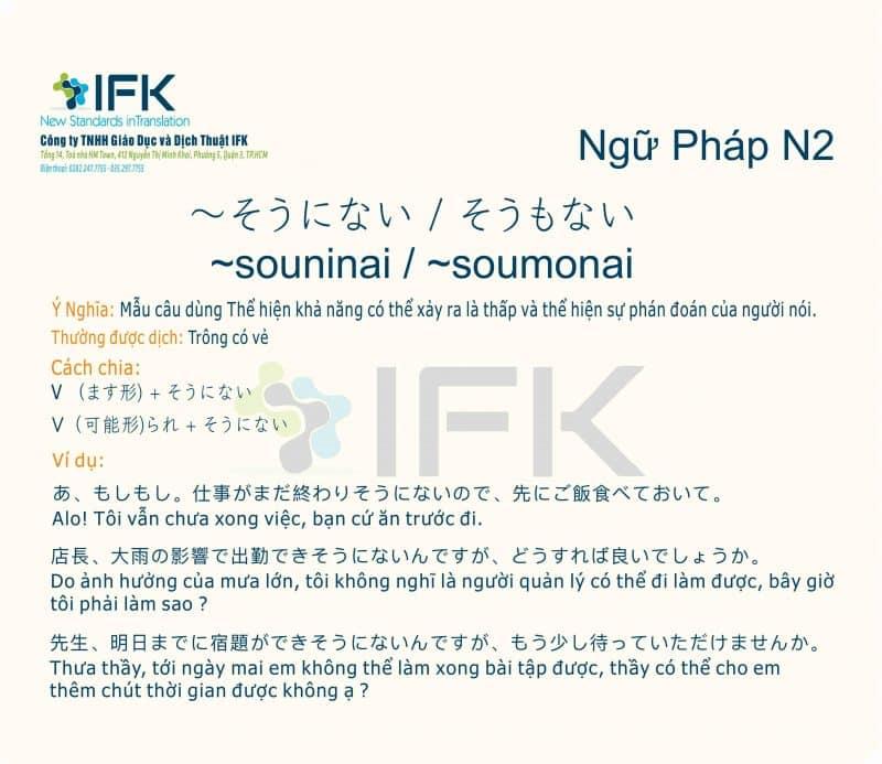 ngu phap n2 souninai soumonai